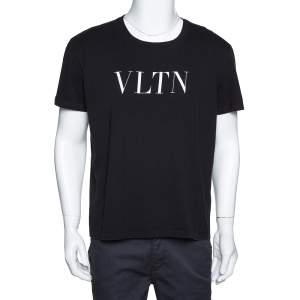 Valentino Black Cotton VLTN Print Crew Neck T Shirt XL