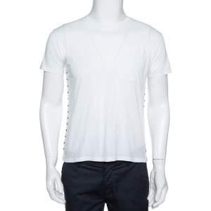 Valentino White Cotton Rockstud Untitled Crew Neck T-Shirt S