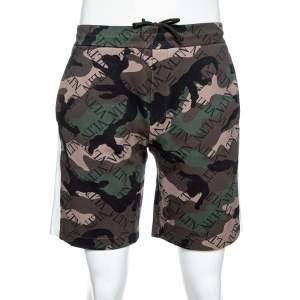 Valentino Green VLTN Camouflage Print Cotton Blend Shorts M
