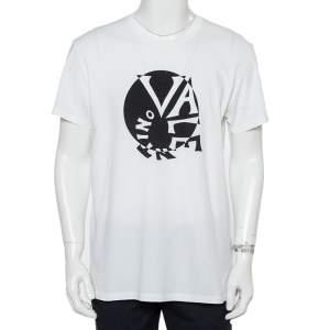 تي شيرت فالنتينو طباعة شعار سبيرال قطن أبيض مقاس كبير جدا