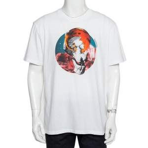 Valentino White Soul Planets Printed Cotton Crewneck T-Shirt XL