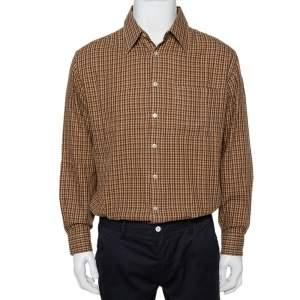 قميص فالنتينو شميزيس أزرار أمامية قطن مربعات بني فينتدج مقاس كبير جداً جداً (اكس اكس لارج)