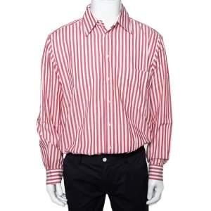 قميص فالنتينو شيميزيس أزرار امامية قطن مقلم وردي و أبيض فينتدج مقاس كبير جداً جداً (اكس اكس لارج)