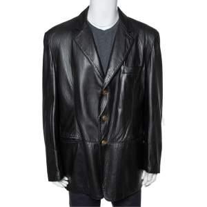 Valentino Vintage Black Leather Button Front Blazer 3XL