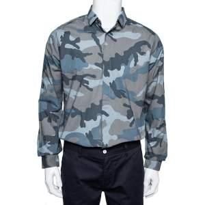 قميص فالنتينو قطن نمط مموه رصاصي بأزرار أمامية مقاس متوسط - ميديوم