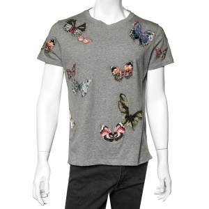 Valentino Grey Cotton Butterfly Patch Detail Crewneck T-Shirt S