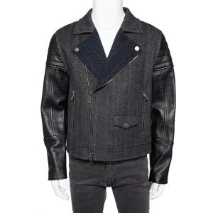 Valentino Grey Wool Leather Sleeve Detail Biker Jacket L