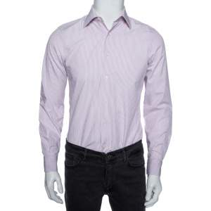 Valentino Lilac Striped Cotton Tailored Fit Shirt M
