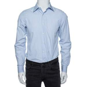 Valentino Sky Blue Striped Cotton Tailored Fit Shirt M