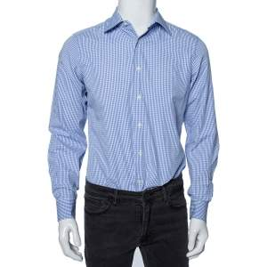 Valentino Blue Checkered Cotton Tailored Fit Shirt M