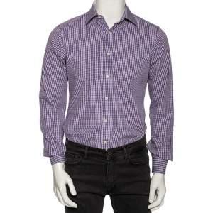قميص فالنتينو قطن كاروهات بنفسجي  بأزرار أمامية مقاس متوسط - ميديوم