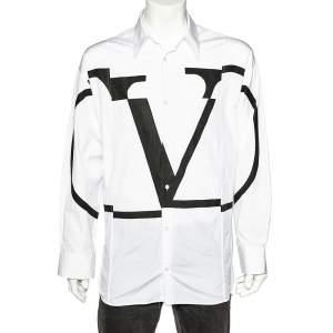 قميص فالنتينو قطن بطبعة شعار v  مفكك بنمط كبير مقاس متوسط - ميديوم