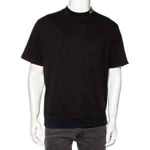Valentino Black Cotton VLTN Intarsia Trim Detailed Crew Neck T-Shirt L