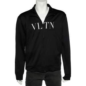 Valentino Black VLTN Printed Knit Zip Front Hoodie XXL