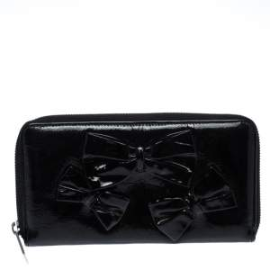 Valentino Black Patent Leather Bow Continental Zip Around Wallet