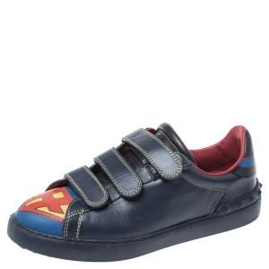 Valentino Blue/Red Leather Super H Low Top Sneakers Size 41