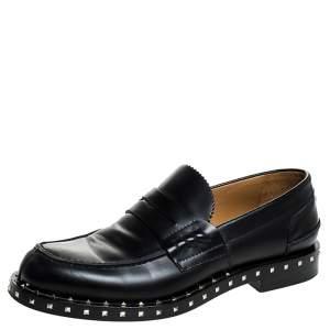 Valentino Black Leather Soul Rockstud Penny Loafers Size 40