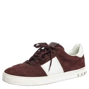 Valentino Burgundy/White Suede and Leather Flycrew Sneakers Size 42