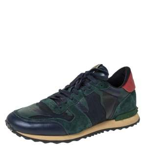 Valentino Blue/Green Camouflage Canvas And Suede Leather Rockrunner Low Top Sneakers Size 43