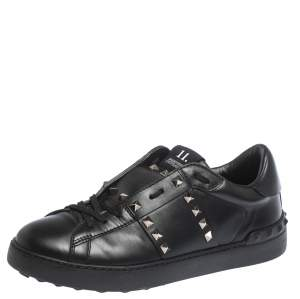 Valentino Black Leather Rockstud Untitled 11 Low Top Sneakers Size 40