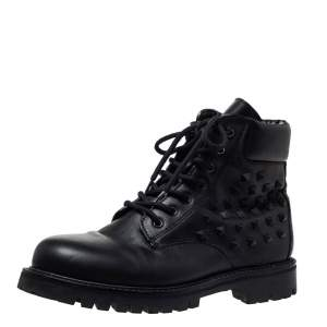 Valentino Black Leather Rockstud Combat Boots Size 40