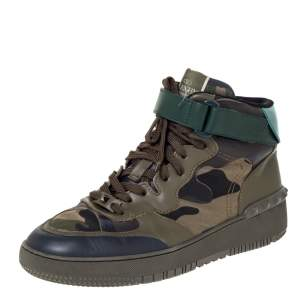 Valentino Green Camouflage Print Leather High Top Sneakers Size 43