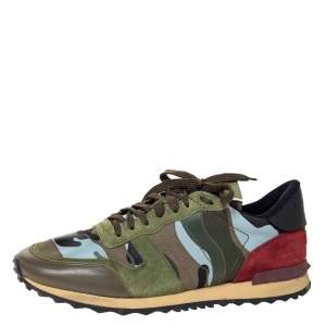 Valentino Multicolor Camo Butterfly Printed Rockrunner Sneakers Size 45