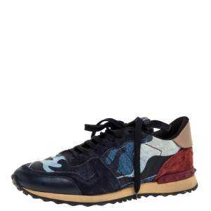 Valentino Multicolor Camouflage Leather And Suede Rockrunner Low Top Sneakers Size 42