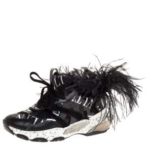 Valentino Black Camouflage Leather and Mesh Feather Bounce Sneakers Size 40