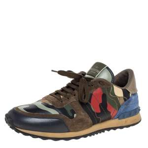 Valentino Garavani Multicolor Leather And Canvas Camouflage Rockstud Low Top Sneakers Size 44