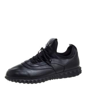 Valentino Black Leather and Satin Bodytech with Stud Low Top Sneakers Size 43