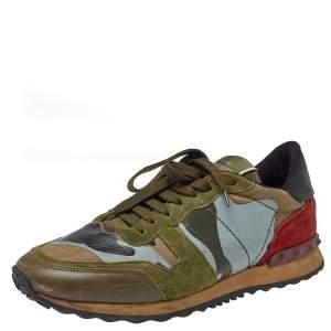 حذاء رياضى فالنتينو روكرانر سويدى وجلد مموه كامو متعدد الألوان مقاس 41