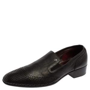 حذاء لوفرز فالنتينو سليب أون جلد مثقب أسود فينتدج مقاس 42