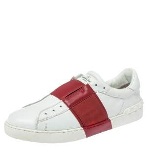 Valentino Red/White Leather Elastic Band Sneakers Size 43