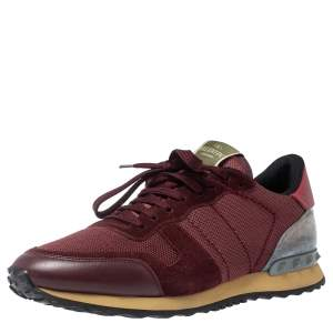 Valentino Burgundy Suede Leather And Mesh Rockrunner Low Top Sneakers Size 42