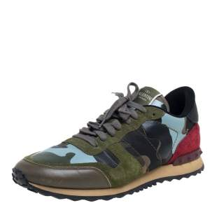 Valentino Multicolor Leather And Suede Garavani Rockstud Sneakers Size 44