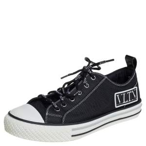 Valentino Black/White Mesh And Rubber Low Top  Giggies Sneakers Size 41