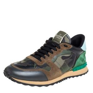 Valentino Multicolor Camouflage Print Suede And Leather Rockrunner Sneakers Size 45