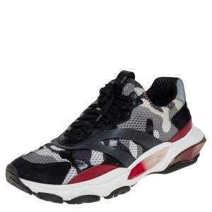 حذاء رياضي فالنتينو باونس شبك وسويدي بطبعة مموهة متعدد الألوان وعنق منخفض مقاس 43