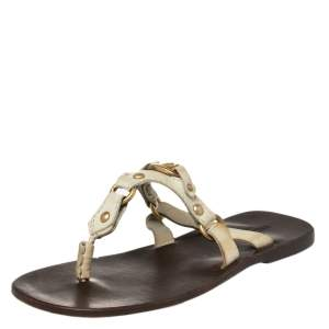 Valentino Cream Leather V Logo Flat Thong Sandals Size 41