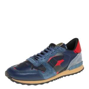 Valentino Multicolor Suede,Canvas and Leather Rockrunner Camouflage Sneakers Size 46