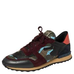 Valentino Multicolor Camouflage Canvas, Suede, and Leather Rockrunner Low Top Sneakers Size 46