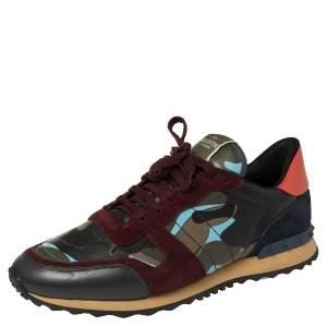 حذاء رياضي فالنتينو روكرونر منخفض من أعلى جلد و سويدي و كانفاس كاموفلاغ متعدد الألوان مقاس 46