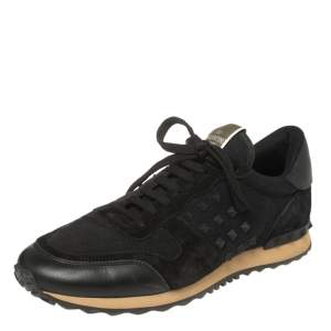 Valentino Black Leather and Suede Rockstud Trainer Sneakers Size 43