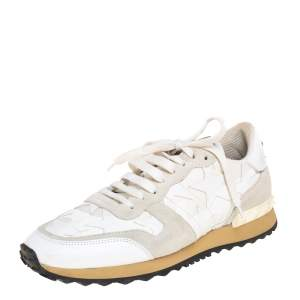 Valentino White/Grey Suede And Leather Rockrunner Low Top Sneakers Size 41