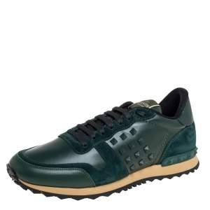 حذاء رياضي فالنتينو روكستد جلد أخضروسويدي برقبة منخفضة مقاس 42