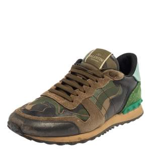حذاء رياضي فالنتينو روكرونر جلد مطبوع كاموفلاغ وسويدي متعدد الألوان مقاس 40