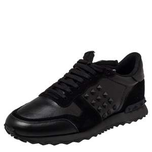 Valentino Black Leather And Suede Rockstud Low Top Sneakers Size 43