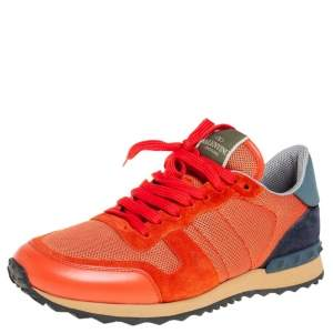 حذاء رياضي فالنتينو روك رانر شبكة وجلد برتقالي/أزرق مقاس 41