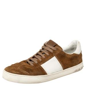 Valentino Brown/White Suede and Leather Flycrew Slip On Sneakers Size 45